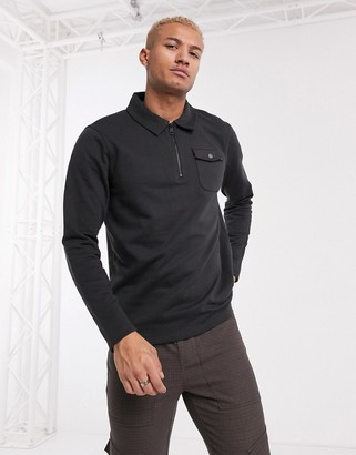 ONLY & SONS quarter zip pocket sweat in gray