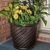 "Suncast Herringbone 18"" Resin Wicker Planter 2-piece Set"