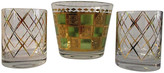 One Kings Lane Vintage Midcentury Ice Bucket & Glasses - 3 Pcs - Osprey Blu - gold/lime green/clear