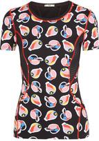 Fendi Mesh-paneled Printed Stretch-jersey Top - Black