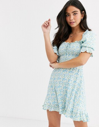 Faithfull The Brand Faithfull donna floral short sleeve shirred mini dress-Blue