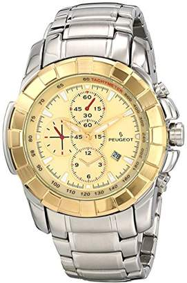 Peugeot Men's Multi-Function Sports Watch - Large Dial with Calendar wWindow and Metal Bracelet