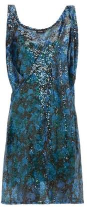 Atlein - Draped-shoulder Sequinned Mini Dress - Green Multi