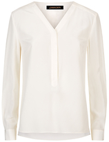 Jaeger Silk Pleated V-Neck Blouse, Ivory