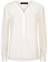 Jaeger Silk Pleated V-Neck Blouse, Ivory
