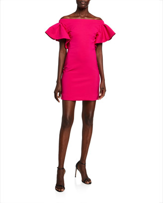Cushnie Ruffled Jersey Off-the-Shoulder Mini Dress