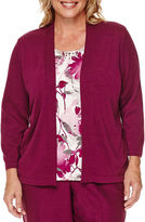 Alfred Dunner Veneto Valley 3/4-Sleeve Floral-Print Layered Sweater - Plus