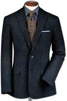 Charles Tyrwhitt Slim Fit Blue Lambswool Hopsack Wool Jacket Size 42