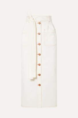 See by Chloe Belted Denim Midi Skirt - Ivory