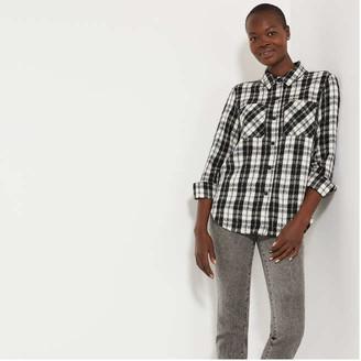 Joe Fresh Women's Plaid Tweed Shirt, Black (Size S)