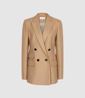Reiss Ledbury Jacket - Wool Blend Double Breasted Jacket in Camel