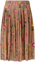 No.21 floral pleated skirt