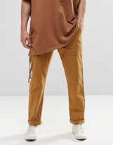Asos Straight Leg Drop Crotch Cargo Pants In Cropped Length In Sand