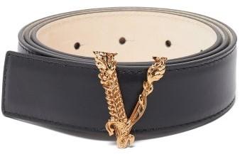 Versace V-buckle Leather Belt - Black