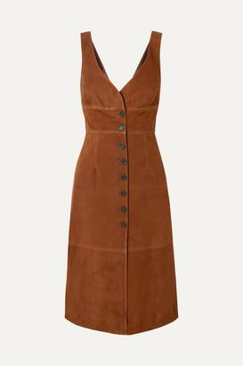 ALEXACHUNG Suede Midi Dress - Brown