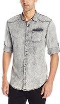 Calvin Klein Jeans Men's Grey Wave Denim Long Sleeve Button Down Shirt