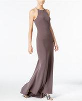 Calvin Klein Crepe Sleeveless Halter Gown