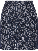 Carven Lace And Gingham Cotton Mini Skirt