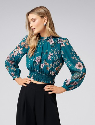 Forever New Demi Drop Balloon Sleeve Crop Top - Trailing Orchid Print - 14