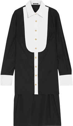 Balmain Asymmetric Pique-paneled Cotton-poplin Tunic
