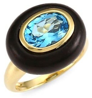 Maria Canale Voyager 18K Yellow Gold, Wood & Blue Topaz East-West Ring
