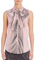 Moschino Sleeveless Silk Bowtie Blouse