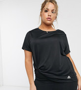 adidas Plus Running 3 stripe t-shirt in black