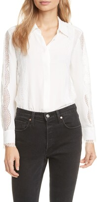 Tailored by Rebecca Taylor Lace Detail Silk Blouse