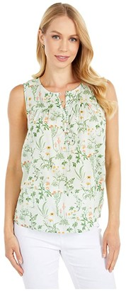Lucky Brand Printed Henley Tank (Green Multi) Women's Clothing