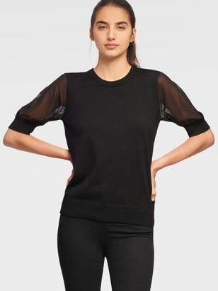 DKNY Women's Half Sleeve Mixed Media Sweater - Black - Size XX-Small