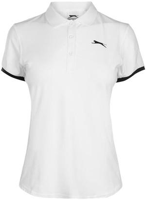 Slazenger Ladies Logo Lightweight Tennis Court Polo Shirt Top (White 12(M))