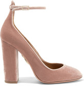 Aquazzura Alix Velvet Pumps - Blush