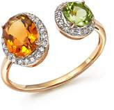 Bloomingdale's Citrine and Peridot Two Stone Ring with Diamonds in 14K Yellow Gold - 100% Exclusive