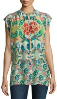 Johnny Was Sage Button-Front Printed Top
