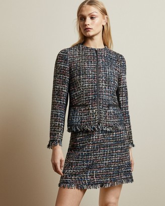 Ted Baker HONORAA Frayed boucle zip jacket