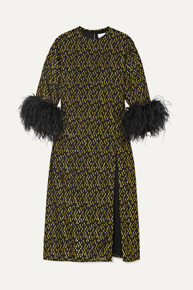 16Arlington Billie Feather-trimmed Fil-coupe Crepe Midi Dress - Black