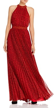 Alice + Olivia Kelissa Leopard Print Pleated Maxi Dress