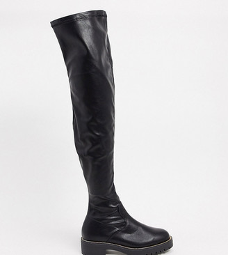 ASOS DESIGN Petite Kate flat over-the-knee boots in black