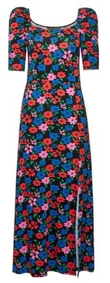 Dorothy Perkins Womens Multi Colour Floral Print Scoop Neck Midi Dress