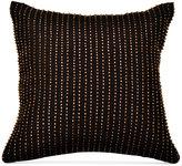 "Donna Karan Home Reflection Ebony 12"" Square Metallic Beaded Decorative Pillow Bedding"