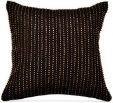 "Donna Karan Home Reflection Ebony 12"" Square Metallic Beaded Decorative Pillow"
