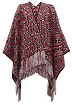Gucci GG-jacquard Tasselled Wool-blend Poncho - Womens - Pink
