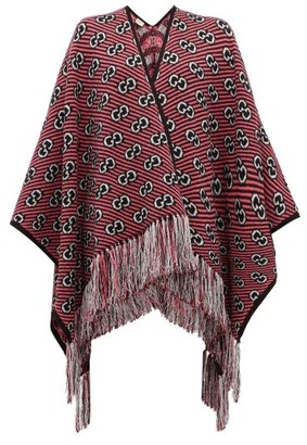 Gucci GG-jacquard Tasselled Wool-blend Poncho - Pink
