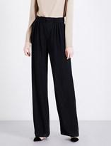 Armani Collezioni Wide high-rise metallic-knit trousers