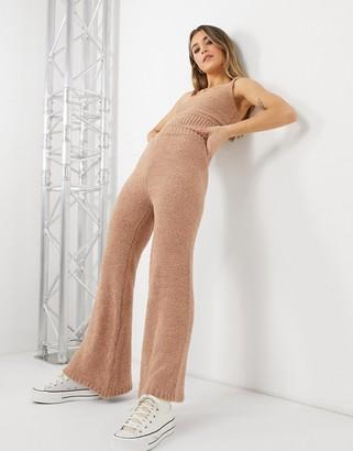 New Look co-ord teddy wide-legged pants in mink
