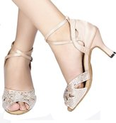 Abroo Abby AQ-70211 Womens Latin Tango Ballroom Dance Party wedding Flared Heel Peep-toe Satin Dance-shoes US Size5