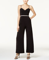 Crystal Doll Juniors' Embellished Palazzo Jumpsuit
