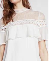 Express Lace Yoke Ruffle Short Sleeve Shift Dress