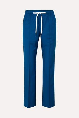 Miu Miu Striped Wool And Mohair-blend Track Pants - Blue