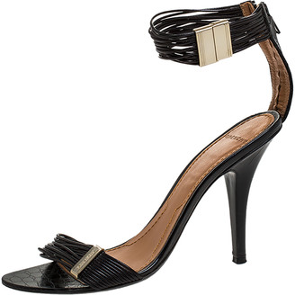 Givenchy Black Multiple String Leather Open Toe Ankle Strap Sandals Size 37